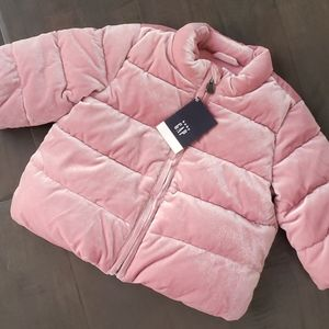 NWT Baby Gap Pink Velvet Fleece Lined Coat 6-12m
